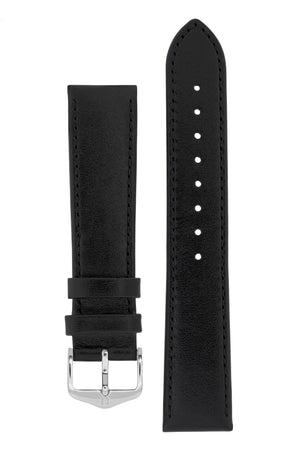 Hirsch Osiris Fine-Grained Calfskin Leather Watch Strap in Black (with Polished Silver Steel H-Standard Buckle)