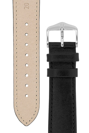 Load image into Gallery viewer, Hirsch Osiris Fine-Grained Calfskin Leather Watch Strap in Black (Underside & Tapers)