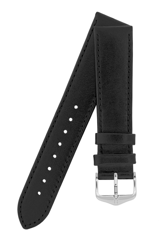 Load image into Gallery viewer, Hirsch Osiris Fine-Grained Calfskin Leather Watch Strap in Black