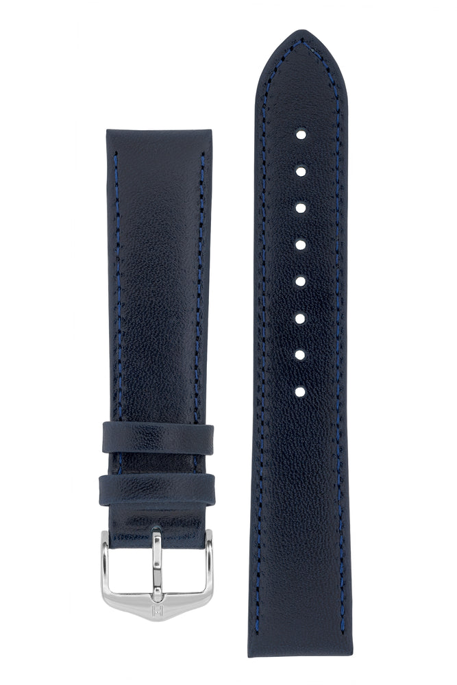 Hirsch OSIRIS Calf Leather Watch Strap in BLUE