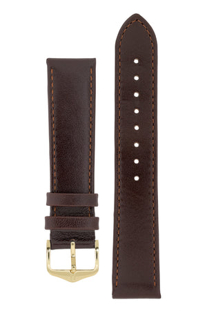 Hirsch Osiris Fine-Grained Calfskin Leather Watch Strap in Brown (with Polished Gold Steel H-Standard Buckle)