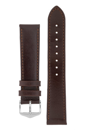 Hirsch Osiris Fine-Grained Calfskin Leather Watch Strap in Brown (with Polished Silver Steel H-Standard Buckle)