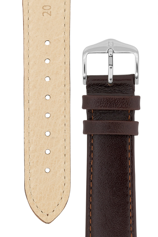 Load image into Gallery viewer, Hirsch Osiris Fine-Grained Calfskin Leather Watch Strap in Brown (Underside & Tapers)