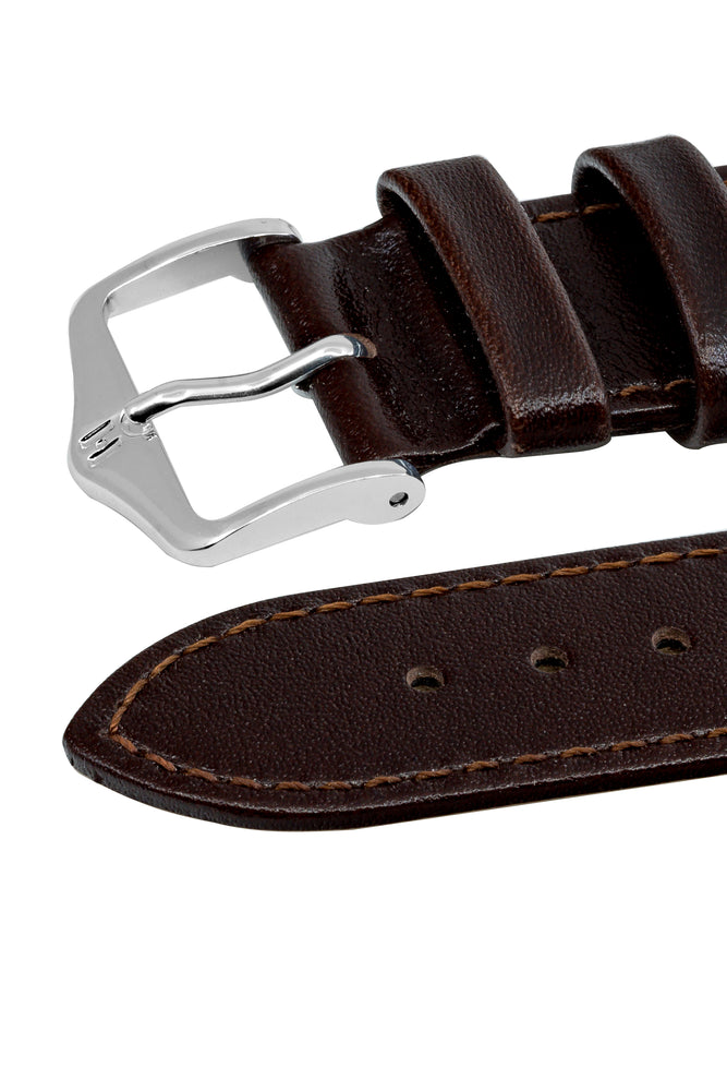Hirsch Osiris Fine-Grained Calfskin Leather Watch Strap in Brown (Keepers)