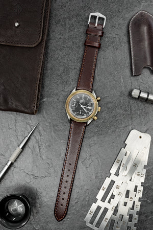 Load image into Gallery viewer, Hirsch Osiris Fine-Grained Calfskin Leather Watch Strap in Brown (Promo Photo)