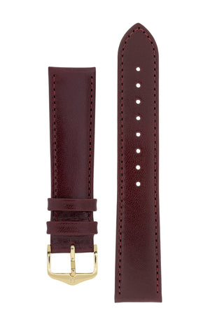 Hirsch Osiris Fine-Grained Calfskin Leather Watch Strap in Burgundy (with Polished Gold Steel H-Standard Buckle)