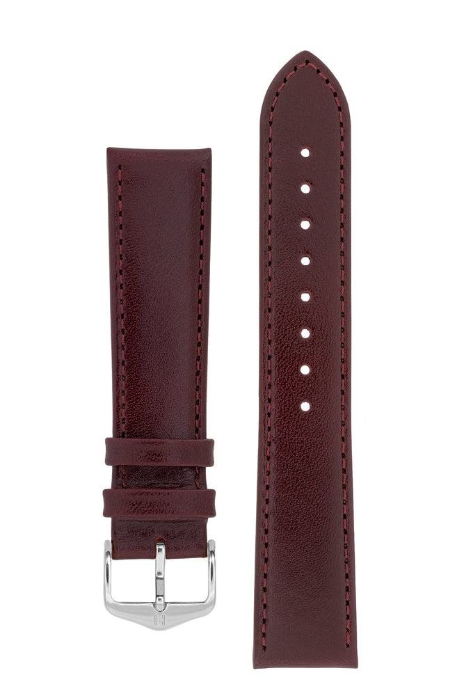 Hirsch Osiris Fine-Grained Calfskin Leather Watch Strap in Burgundy (with Polished Silver Steel H-Standard Buckle)