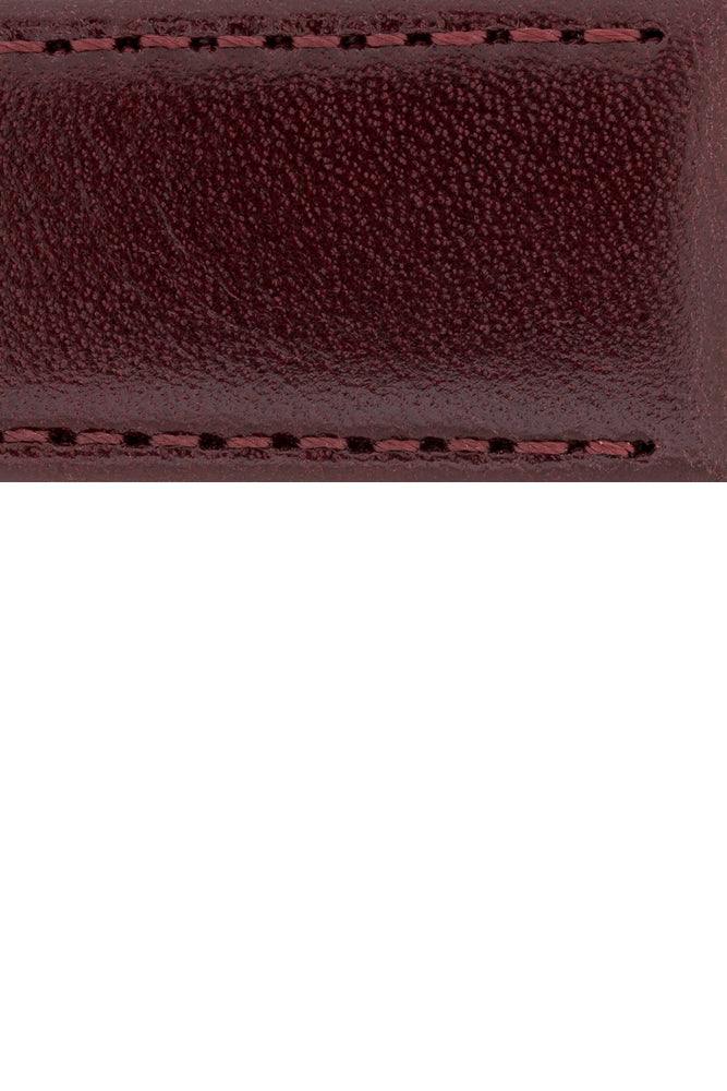 Hirsch Osiris Fine-Grained Calfskin Leather Watch Strap in Burgundy (Close-Up Texture Detail)