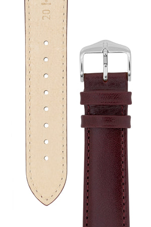 Hirsch Osiris Fine-Grained Calfskin Leather Watch Strap in Burgundy (Underside & Tapers)