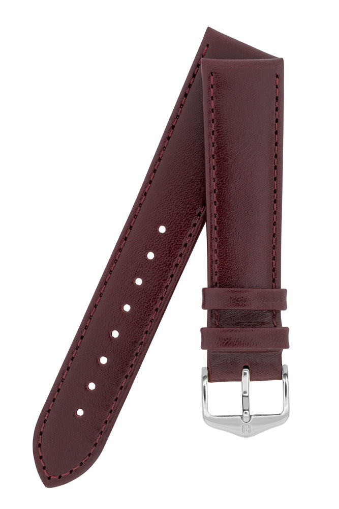 Hirsch Osiris Fine-Grained Calfskin Leather Watch Strap in Burgundy