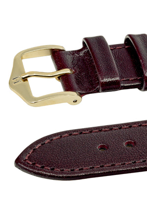 Hirsch Osiris Fine-Grained Calfskin Leather Watch Strap in Burgundy (Keepers)