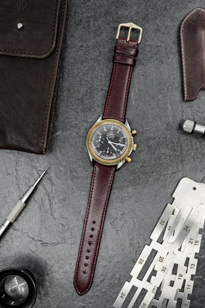 Hirsch Osiris Fine-Grained Calfskin Leather Watch Strap in Burgundy (Promo Photo)