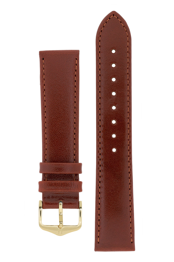 Hirsch Osiris Fine-Grained Calfskin Leather Watch Strap in Mid Brown (with Polished Gold Steel H-Standard Buckle)
