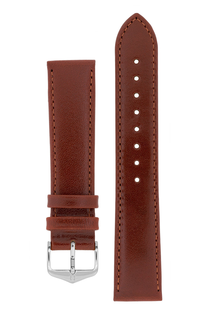 Hirsch Osiris Fine-Grained Calfskin Leather Watch Strap in Mid Brown (with Polished Silver Steel H-Standard Buckle)