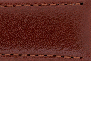 Hirsch Osiris Fine-Grained Calfskin Leather Watch Strap in Mid Brown (Close-Up Texture Detail)