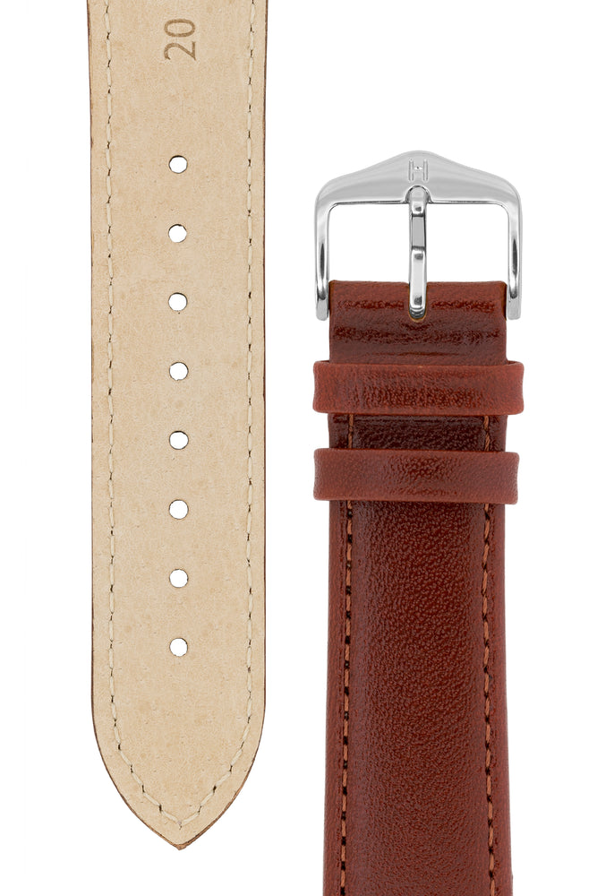 Load image into Gallery viewer, Hirsch Osiris Fine-Grained Calfskin Leather Watch Strap in Mid Brown (Underside & Tapers)