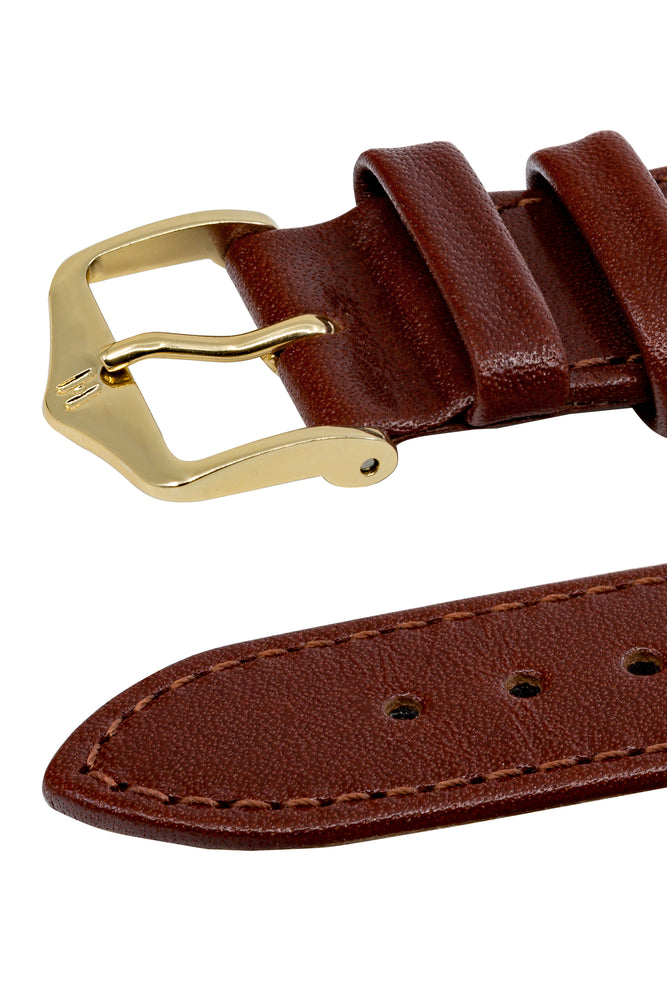 Hirsch Osiris Fine-Grained Calfskin Leather Watch Strap in Mid Brown (Tapers)
