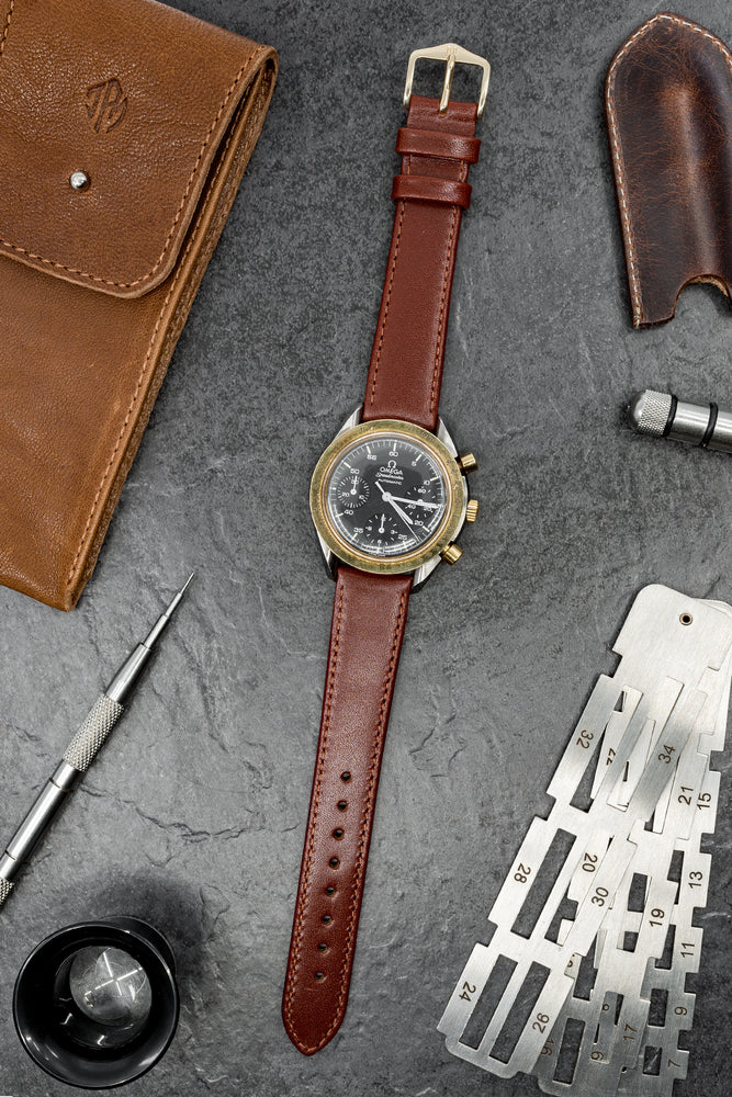 Load image into Gallery viewer, Hirsch Osiris Fine-Grained Calfskin Leather Watch Strap in Mid Brown (Promo Photo)