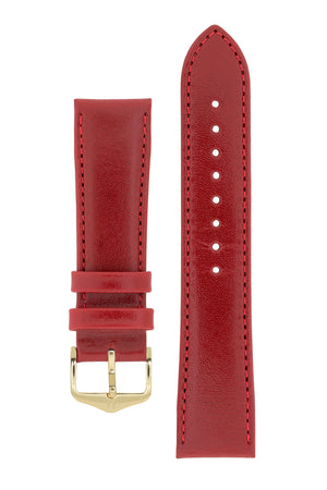 Hirsch Osiris Fine-Grained Calfskin Leather Watch Strap in Red (with Polished Gold Steel H-Standard Buckle)