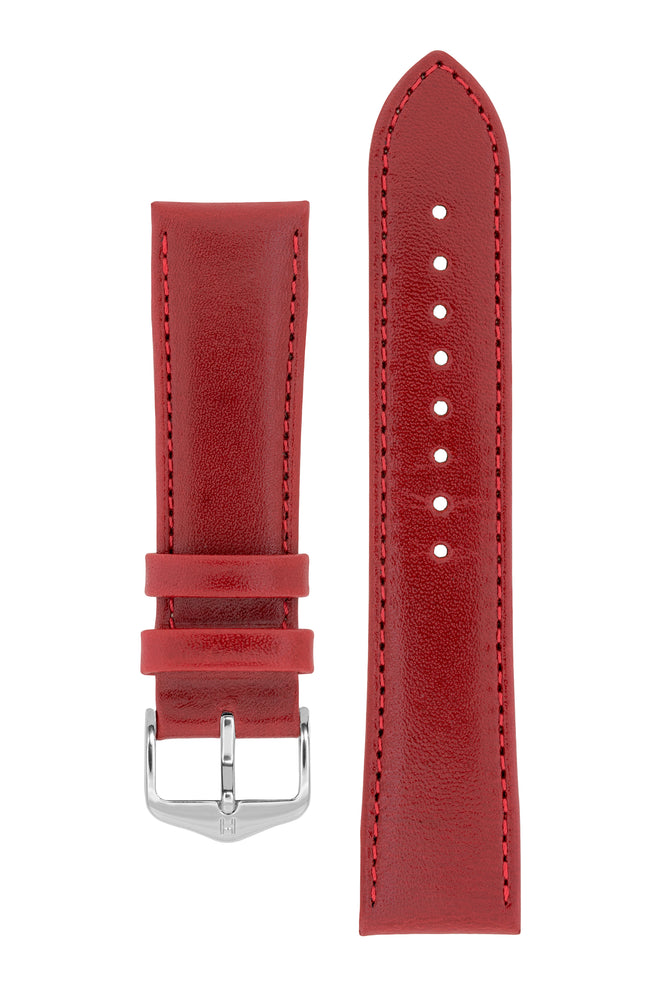 Hirsch Osiris Fine-Grained Calfskin Leather Watch Strap in Red (with Polished Silver Steel H-Standard Buckle)