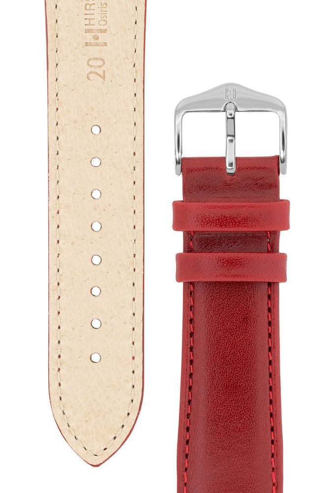 Hirsch Osiris Fine-Grained Calfskin Leather Watch Strap in Red (Underside & Tapers)