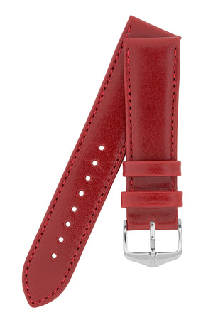 Hirsch Osiris Fine-Grained Calfskin Leather Watch Strap in Red