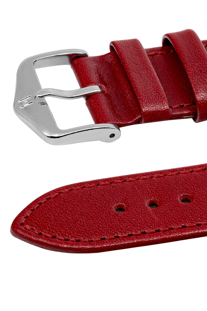 Hirsch Osiris Fine-Grained Calfskin Leather Watch Strap in Red (Keepers)