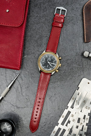 Hirsch Osiris Fine-Grained Calfskin Leather Watch Strap in Red (Promo Photo)