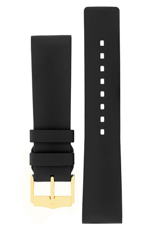 Hirsch Pure Natural Caoutchouc Rubber Diving Watch Strap in Black (with Polished Gold Aluminium Buckle)