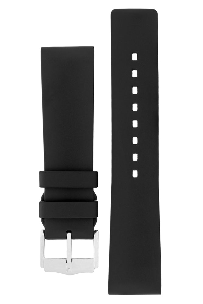 Hirsch Pure Natural Caoutchouc Rubber Diving Watch Strap in Black (with Polished Silver Aluminium Buckle)