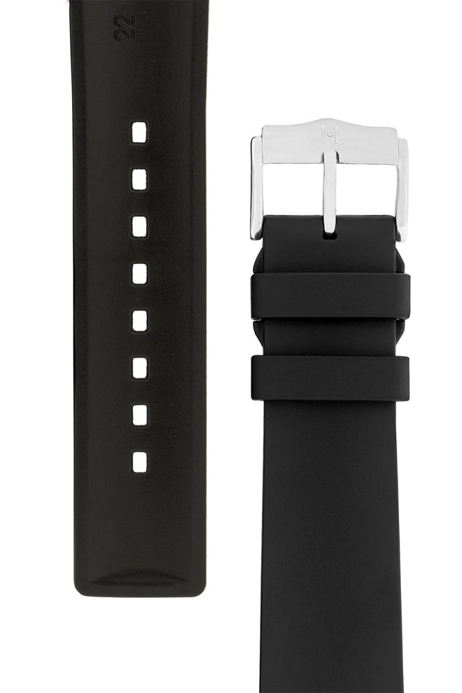 Hirsch Pure Natural Caoutchouc Rubber Diving Watch Strap in Black (Underside & Tapers)