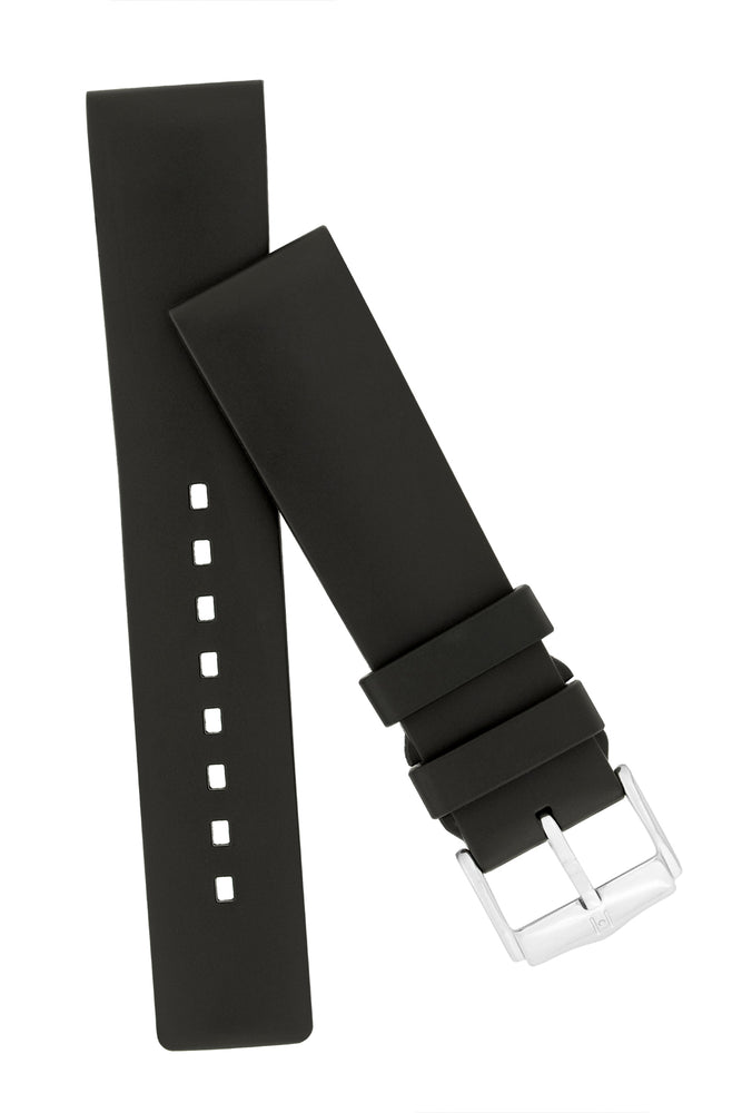 Hirsch Pure Natural Caoutchouc Rubber Diving Watch Strap in Black