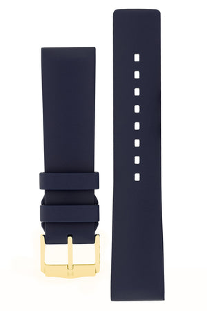 Hirsch Pure Natural Caoutchouc Rubber Diving Watch Strap in Blue (with Polished Gold Aluminium Buckle)