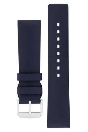 Hirsch Pure Natural Caoutchouc Rubber Diving Watch Strap in Blue (with Polished Silver Aluminium Buckle)