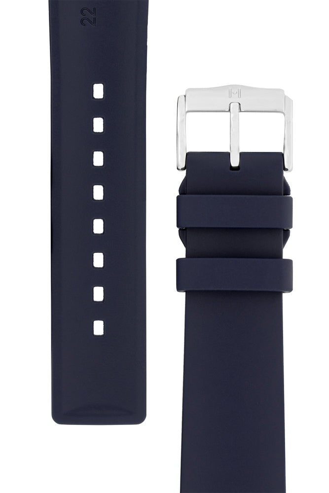 Hirsch Pure Natural Caoutchouc Rubber Diving Watch Strap in Blue (Underside & Tapers)