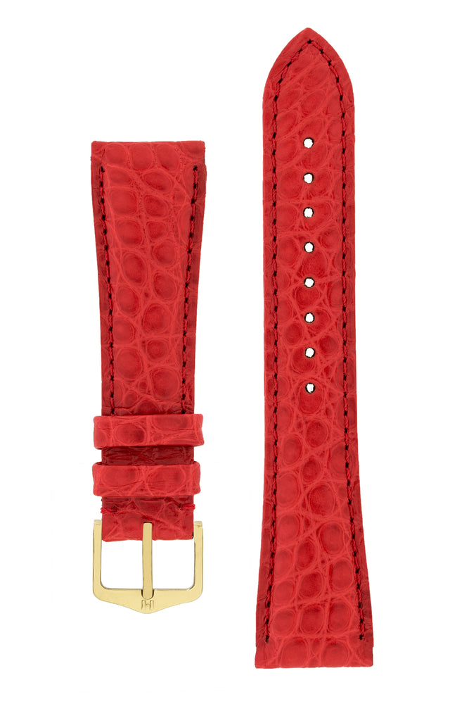 Hirsch Regent Genuine Alligator Leather Watch Strap in Red (with Polished Gold Steel H-Tradition Buckle)