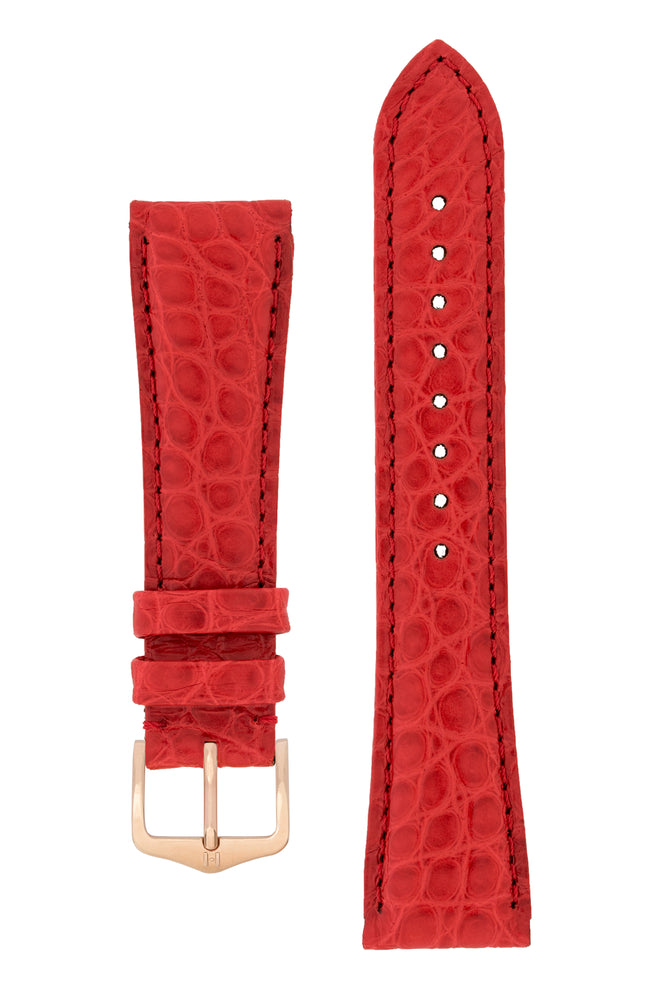Hirsch Regent Genuine Alligator Leather Watch Strap in Red (with Polished Rose Gold Steel H-Tradition Buckle)