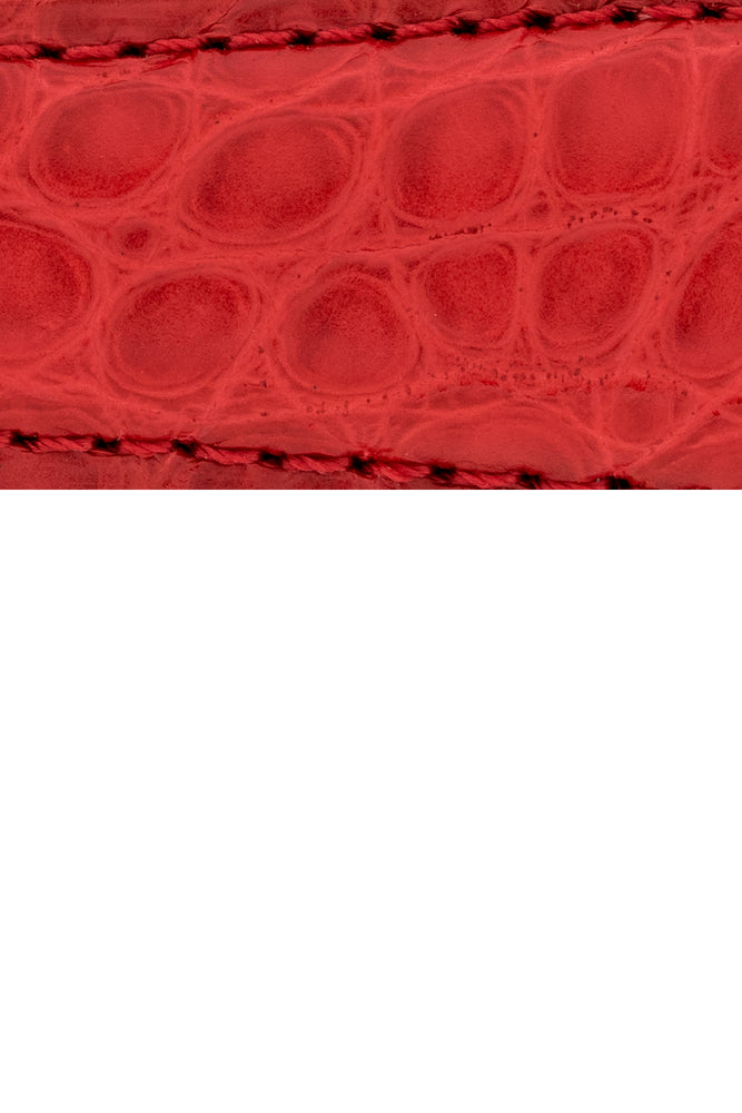 Load image into Gallery viewer, Hirsch Regent Genuine Alligator Leather Watch Strap in Red (Close-Up Texture Detail)