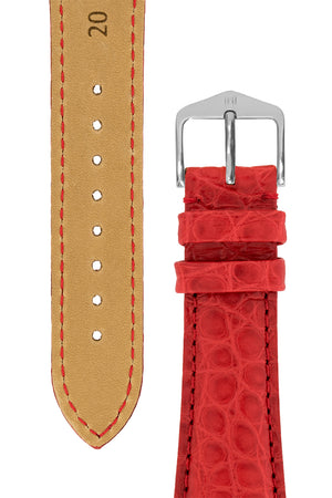 Load image into Gallery viewer, Hirsch Regent Genuine Alligator Leather Watch Strap in Red (Underside & Tapers)
