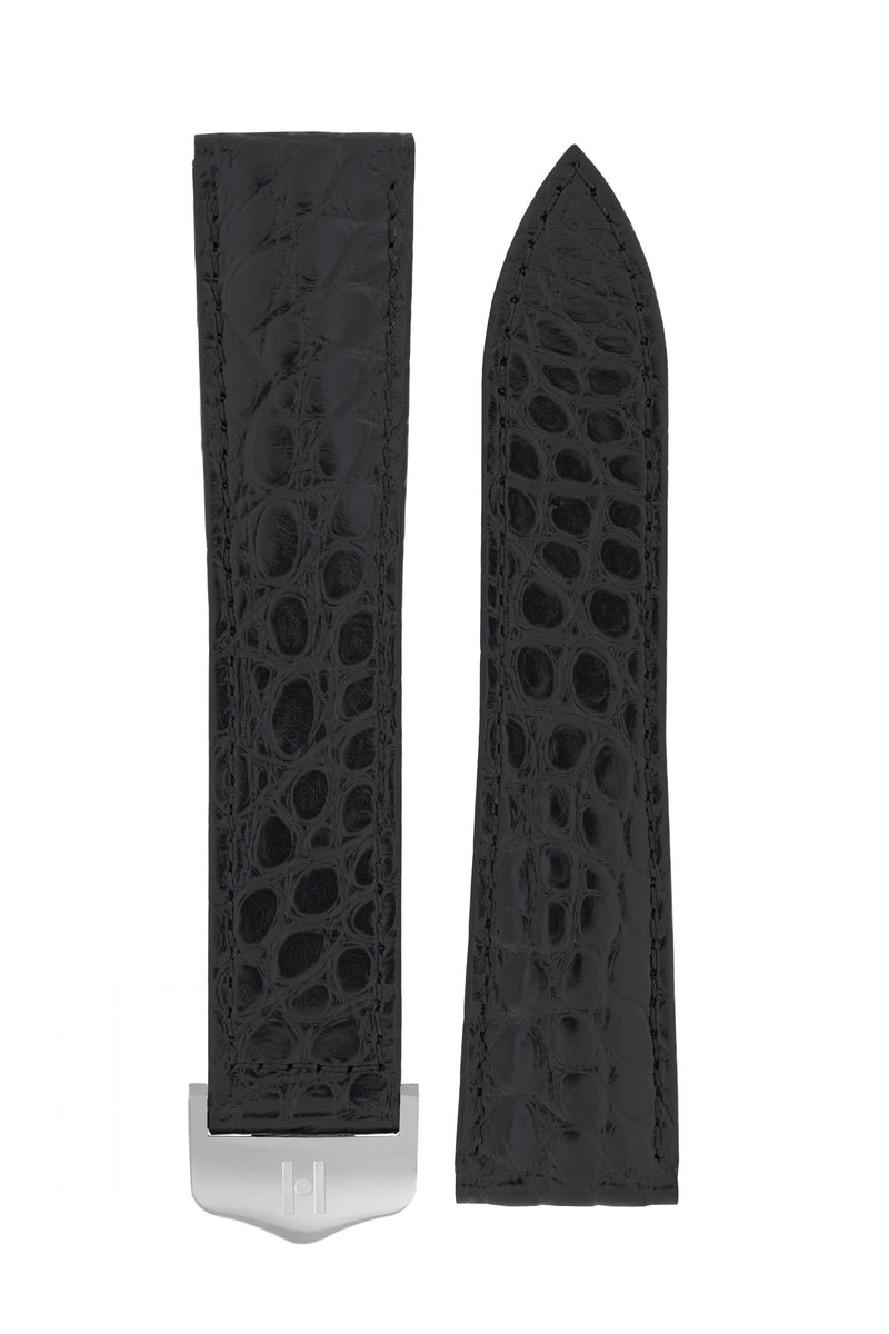 Hirsch SAVOIR Alligator Flank Single Fold Deployment Watch Strap in BLACK