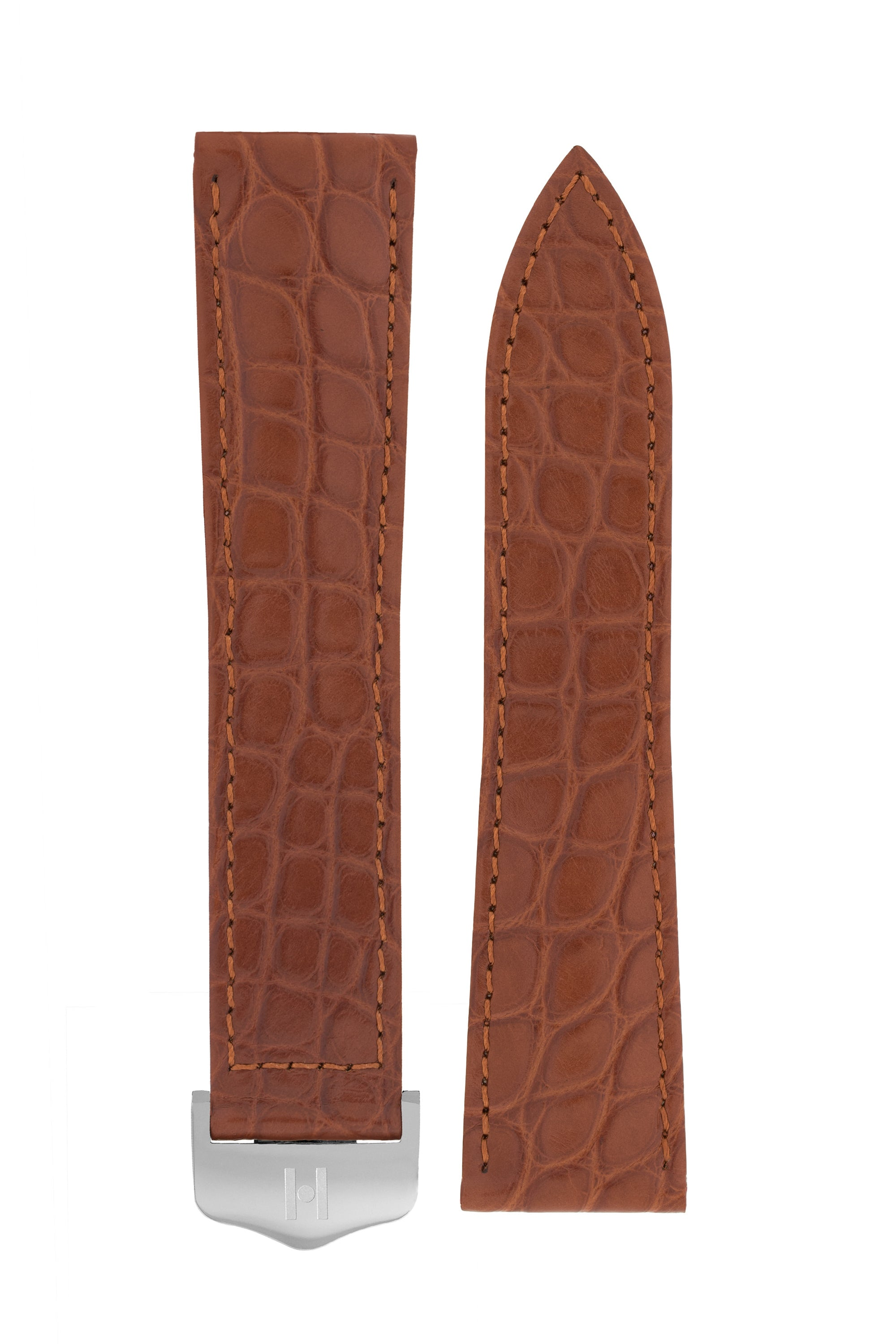 Hirsch SAVOIR Alligator Flank Single Fold Deployment Watch Strap in GOLD BROWN