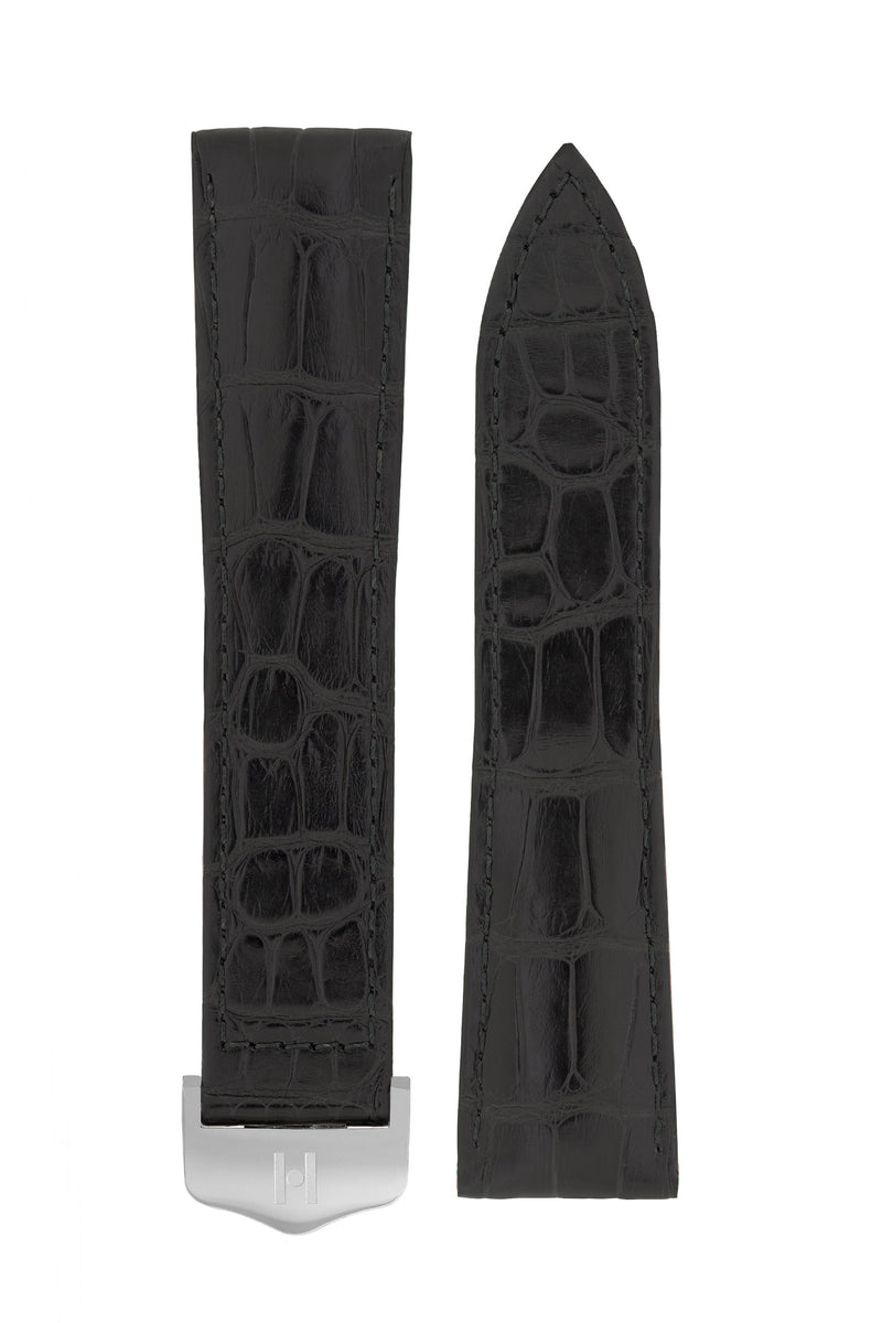 Hirsch SAVOIR Alligator Single Fold Deployment Watch Strap in MATT BLACK