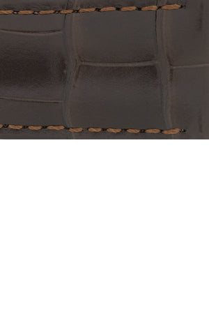 Hirsch Savoir Alligator Single Fold Deployment Watch Strap in Matt Dark Brown (Close-Up Texture Detail)