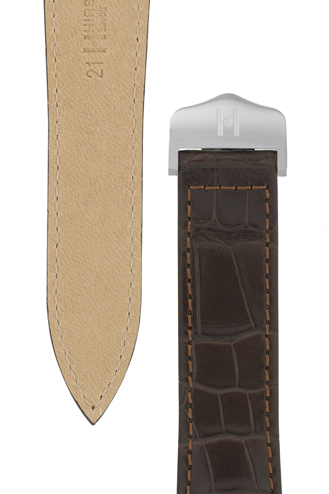 Hirsch Savoir Alligator Single Fold Deployment Watch Strap in Matt Dark Brown (Underside & Tapers)