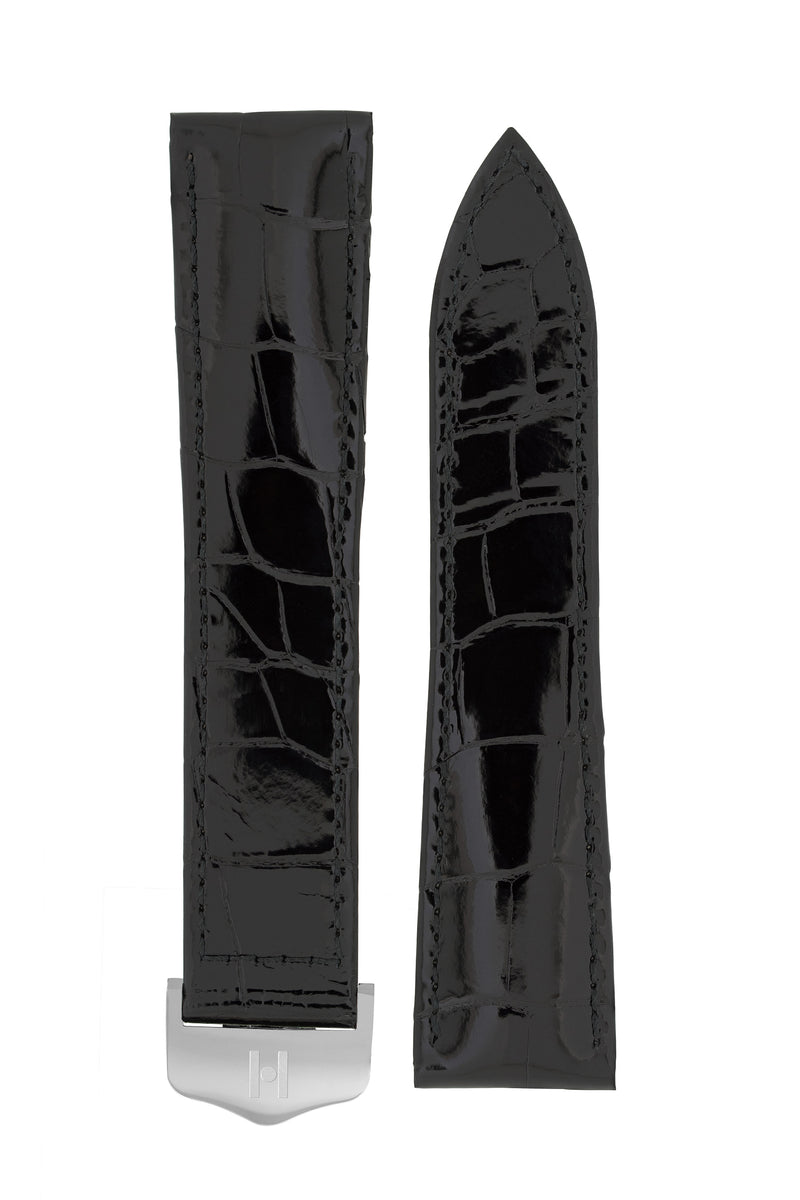 Hirsch SAVOIR Alligator Single Fold Deployment Watch Strap in SHINY BLACK