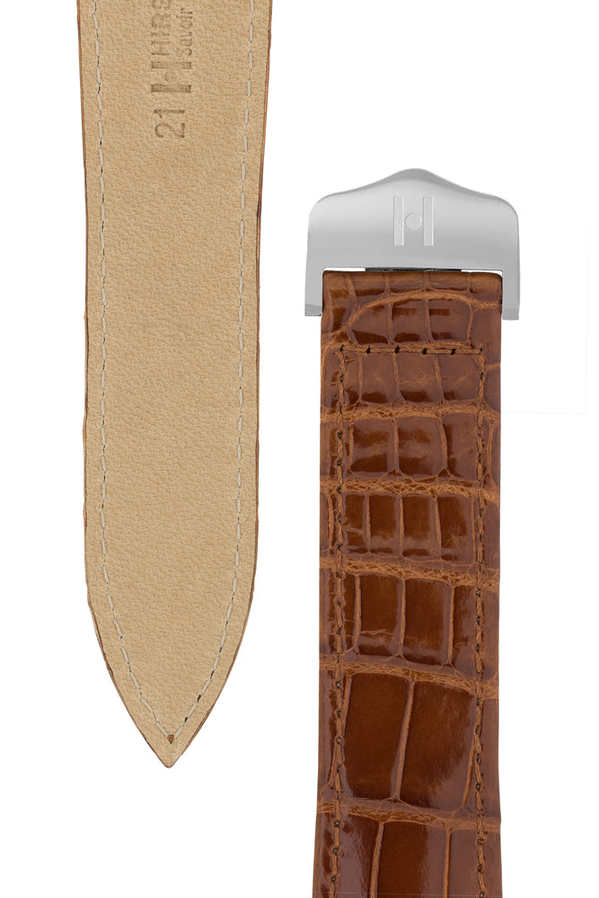Hirsch Savoir Alligator Single Fold Deployment Watch Strap in Shiny Gold Brown (Underside & Tapers)