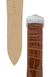 Hirsch SAVOIR Alligator Single Fold Deployment Watch Strap in SHINY GOLD BROWN