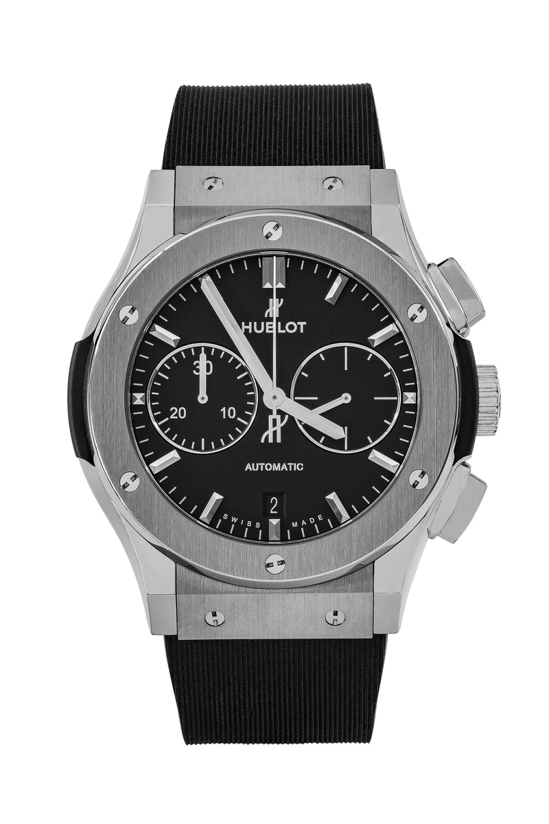 HUBLOT Classic Fusion Chronograph Watch - BLACK Dial / Rubber Strap