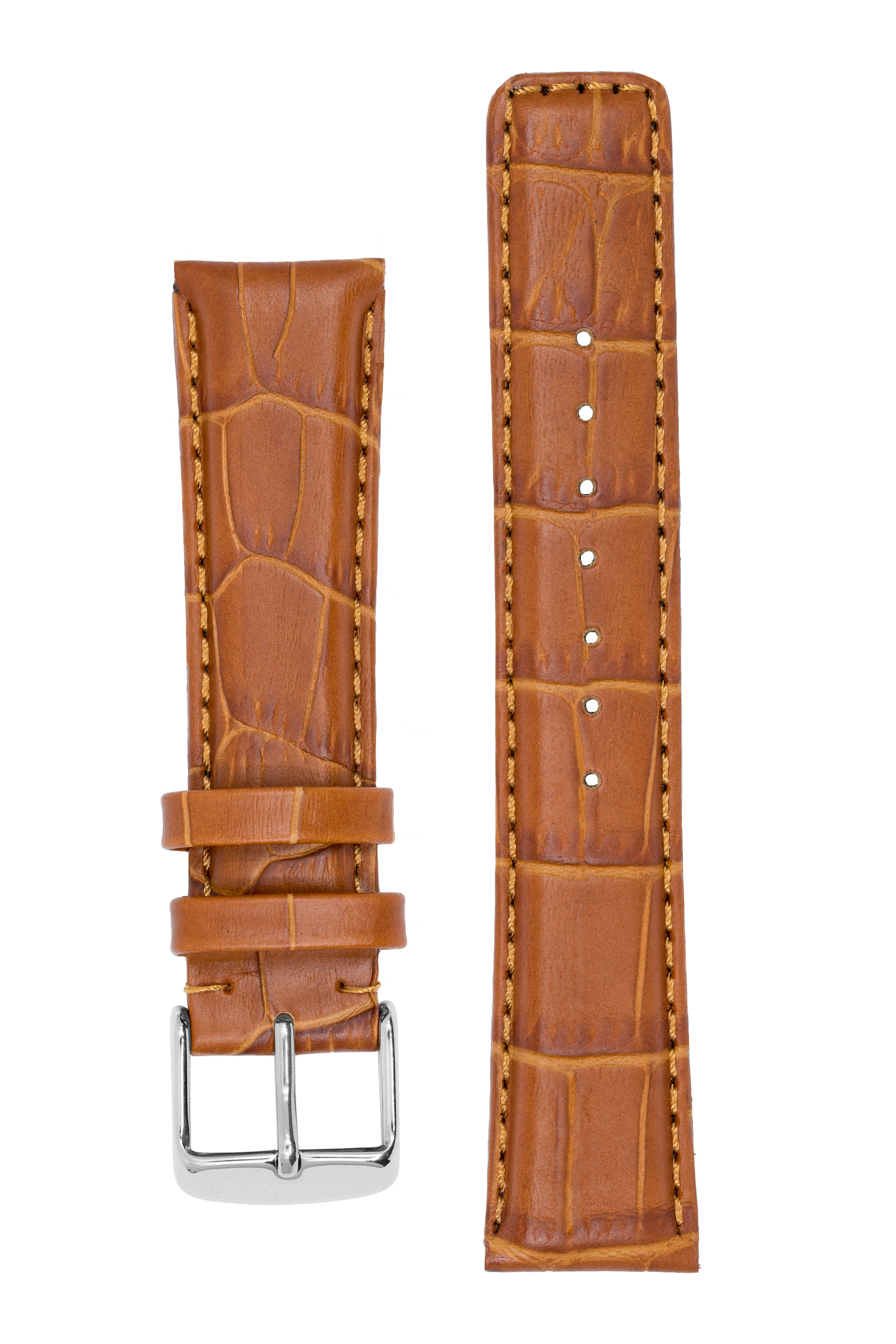 IWC-Style Alligator Embossed Leather Watch Strap in BROWN