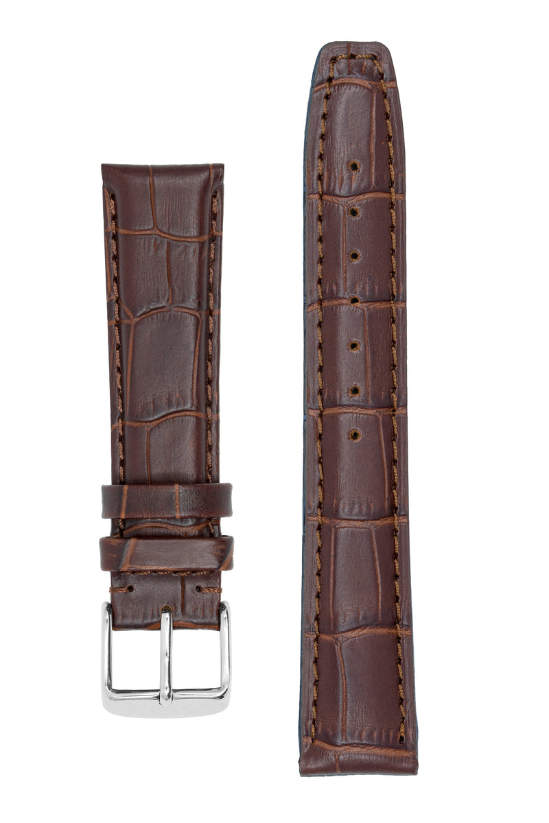 IWC-Style Alligator Embossed Leather Watch Strap in TABAC